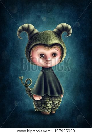 Illustration with capricorn astrological sign boy