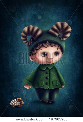 Illustration with aries astrological sign boy
