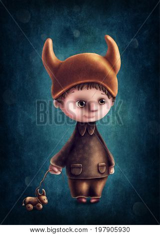 Illustration with taurus astrological sign boy
