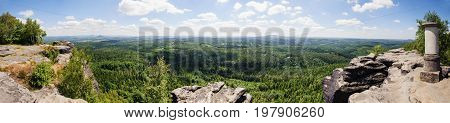 Panoramatic view of rocks and forests in Saxon Switzerland