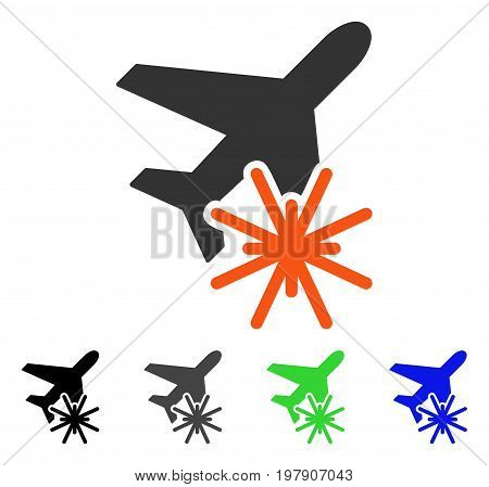 Aiplane Explosion flat vector pictogram. Colored aiplane explosion gray, black, blue, green pictogram versions. Flat icon style for graphic design.
