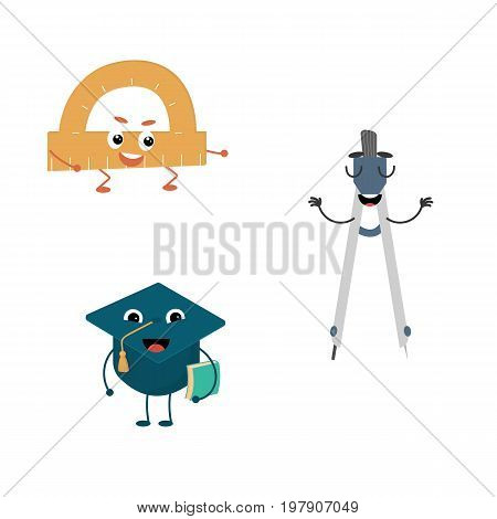 Set of funny characters from pair, compasses, protractor, cap. Vector illustration in cartoon style on a white background.