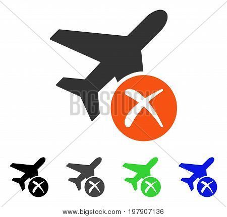 Aircraft Reject flat vector illustration. Colored aircraft reject gray, black, blue, green icon variants. Flat icon style for graphic design.