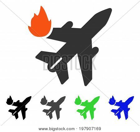 Airliner Fire flat vector pictogram. Colored airliner fire gray, black, blue, green icon versions. Flat icon style for graphic design.