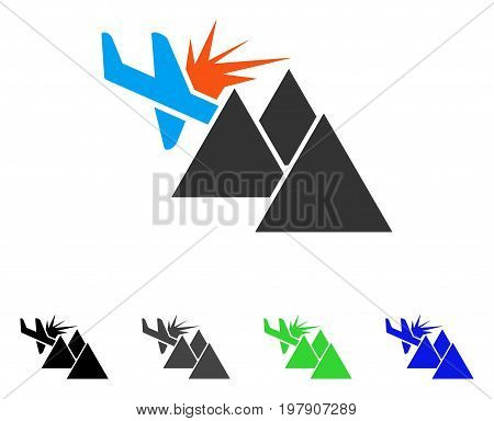 Airplane Mountain Crash flat vector illustration. Colored airplane mountain crash gray, black, blue, green icon variants. Flat icon style for application design.