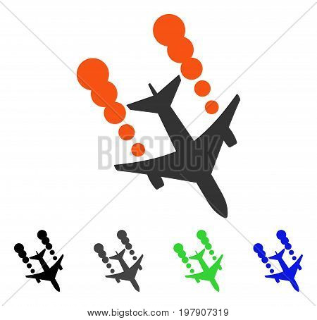 Airplane Smoke Trace flat vector pictogram. Colored airplane smoke trace gray, black, blue, green pictogram variants. Flat icon style for web design.