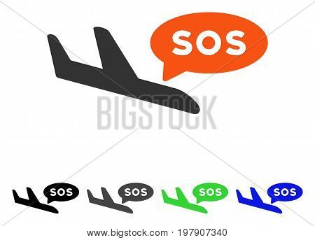 Airplane Sos Message flat vector pictograph. Colored airplane sos message gray, black, blue, green pictogram variants. Flat icon style for application design.