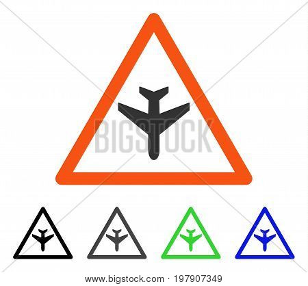 Airplane Warning flat vector pictograph. Colored airplane warning gray, black, blue, green icon variants. Flat icon style for application design.