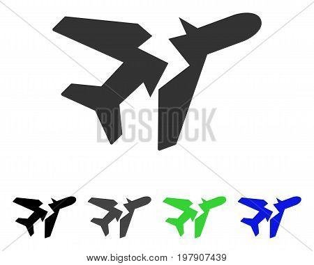 Break Airplane flat vector illustration. Colored break airplane gray, black, blue, green icon versions. Flat icon style for graphic design.