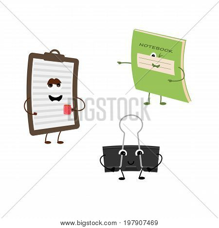 Set of funny characters from notebook, tablet, office clamp. Vector illustration in cartoon style on a white background.