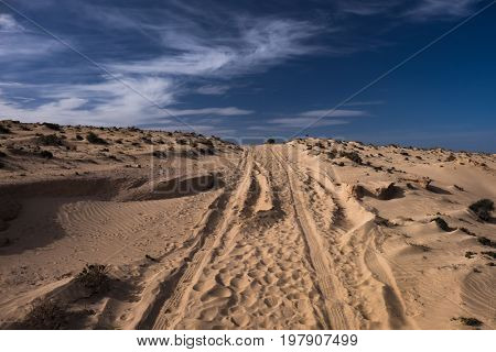 A dirt road in the sand desert