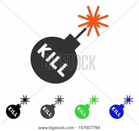 Kill Bomb flat vector pictogram. Colored kill bomb gray, black, blue, green pictogram versions. Flat icon style for application design.