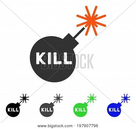 Kill Bomb flat vector illustration. Colored kill bomb gray, black, blue, green pictogram variants. Flat icon style for web design.