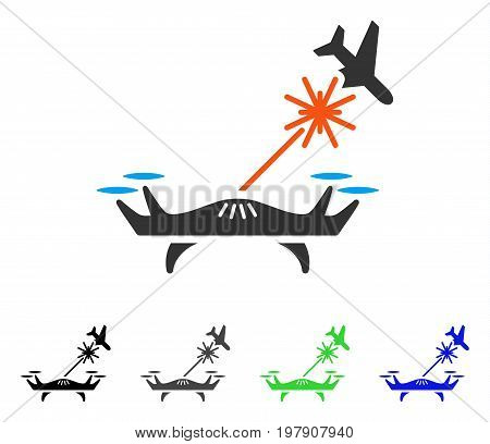 Laser Drone Strikes Airplane flat vector pictogram. Colored laser drone strikes airplane gray, black, blue, green icon variants. Flat icon style for application design.