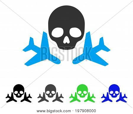 Mortal Airplanes flat vector icon. Colored mortal airplanes gray, black, blue, green pictogram variants. Flat icon style for application design.