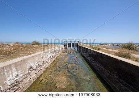 Waterway Canal Towards Sea In Castellon