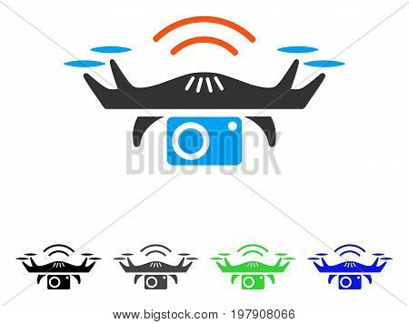 Photo Spy Drone flat vector icon. Colored photo spy drone gray, black, blue, green icon variants. Flat icon style for application design.
