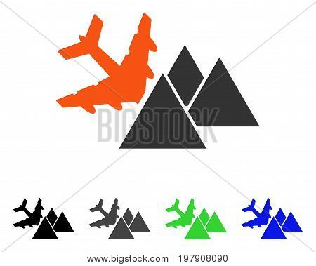 Piramides Airplane Crash flat vector pictogram. Colored piramides airplane crash gray, black, blue, green icon versions. Flat icon style for application design.