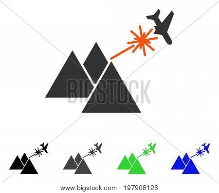 Piramides Strike Airplane flat vector pictograph. Colored piramides strike airplane gray, black, blue, green pictogram variants. Flat icon style for graphic design.