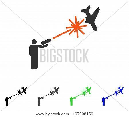 Rebel Strikes Airplane flat vector pictograph. Colored rebel strikes airplane gray, black, blue, green icon variants. Flat icon style for web design.