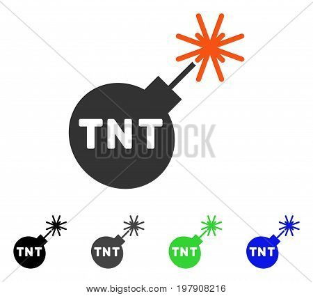 Tnt Bomb flat vector pictogram. Colored TNT bomb gray, black, blue, green pictogram versions. Flat icon style for application design.