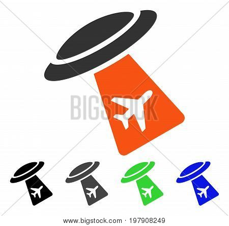 UFO Abduct Plane flat vector illustration. Colored ufo abduct plane gray, black, blue, green pictogram versions. Flat icon style for graphic design.
