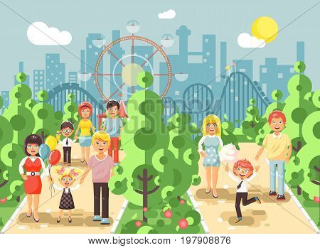 Stock vector illustration walk stroll promenade of parents with children, child s day, entertainment and leisure in amusement park outdoor, roller coaster switchback background, cityscape flat style