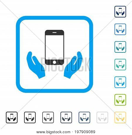 Smartphone Care Hands icon inside rounded rectangle frame. Vector illustration style is a flat iconic symbol in some color versions.