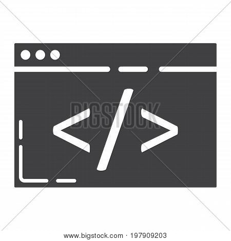 Custom coding glyph icon, seo and development, browser programming sign vector graphics, a solid pattern on a white background, eps 10.