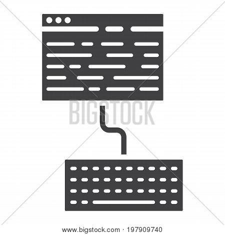 Copywriting glyph icon, seo and development, blogging sign vector graphics, a solid pattern on a white background, eps 10.