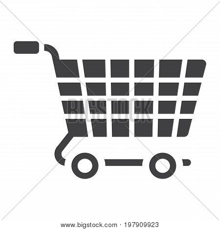 Ecommerce solutions glylph icon, seo and development, basket sign vector graphics, a solid pattern on a white background, eps 10.