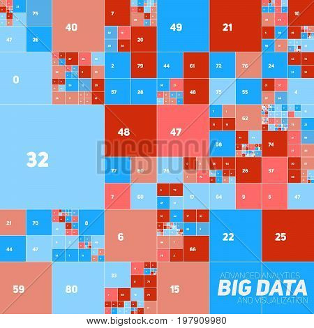 Vector abstract colorful financial big data graph visualization. Futuristic blocks infographics aesthetic design. Visual information complexity. Intricate data threads chart. Business analytics