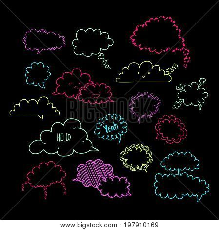 Set of hand-drawn cloud speech bubbles, vector abstract illustration of doodle speech bubbles, EPS 8