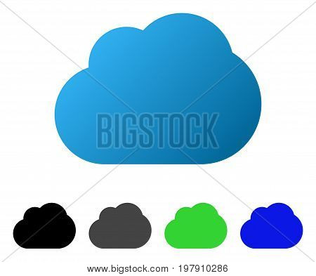 Cloud flat vector pictograph. Colored cloud gradient, gray, black, blue, green icon versions. Flat icon style for graphic design.