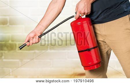 Hand fire extinguisher extinguish red single equipment