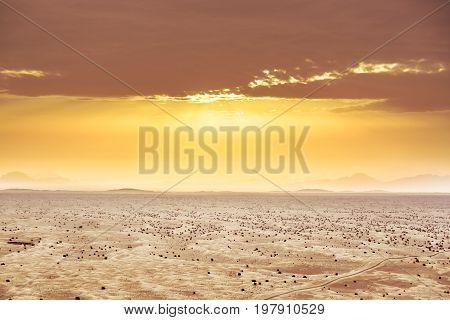 desert landscape shot from hot air balloon, Dubai, UAE