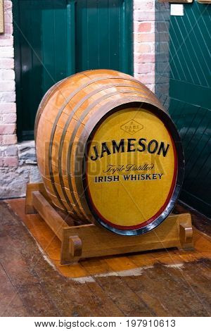 July 29th, 2017, Distillers Walk, Midleton, Co Cork, Ireland - Old barril inside the Jameson Experience, an Irish whiskey museum and visitor centre located in the Old Midleton Distillery in Midleton