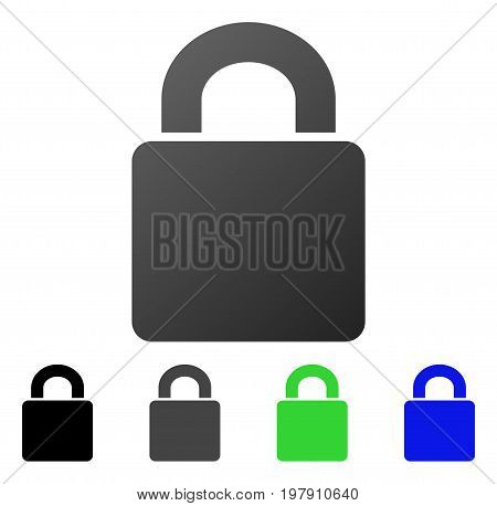 Lock flat vector pictograph. Colored lock gradient, gray, black, blue, green icon versions. Flat icon style for web design.