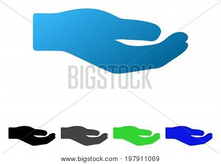 Sharing Hand flat vector illustration. Colored sharing hand gradient, gray, black, blue, green icon versions. Flat icon style for graphic design.