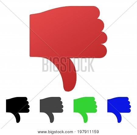 Thumb Down flat vector pictogram. Colored thumb down gradient, gray, black, blue, green icon versions. Flat icon style for web design.