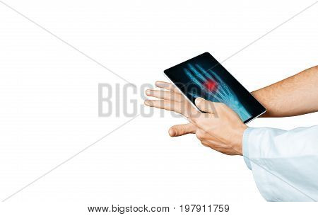 Doctor With Digital Tablet Scans Patient Arm Modern X-Ray Technologists In Medicine And Healthcare Concept
