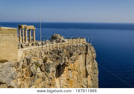 city of lindos in the rhodes island greece