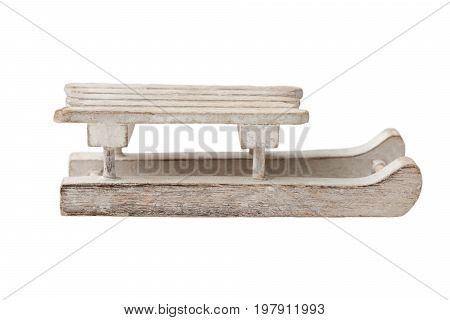 A wooden small sledge, isolated on white
