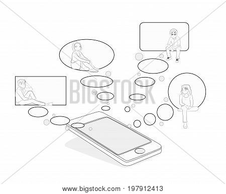 Speech bubbles in which people communicate. The concept of communication in social networks and messengers. vector illustration.