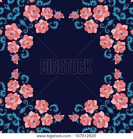 Flowers and birds. Beautiful design for frames, cards, bandana prints, kerchief design, tablecloths and napkins. Vector illustration.