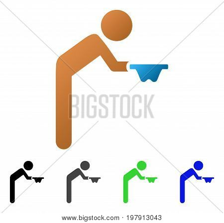 Child Beggar flat vector pictogram. Colored child beggar gradiented, gray, black, blue, green pictogram variants. Flat icon style for application design.