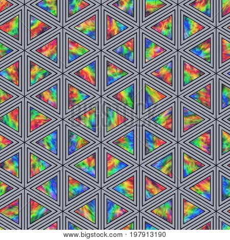 Creative Seamless Pattern of Holographic Triangles of Verticalal Direction. Triangular Continuous Background of Multicolor Geometric Figures.