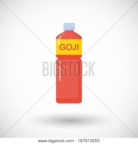 Goji berries juice vector flat icon Flat design of superfood wolfberry or healthy eating object with round shadow isolated on the white background cute vector illustration with reflections