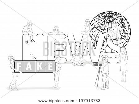 A team of young people is working on fake news. Great word fake news on the background of the world map. vector illustration.