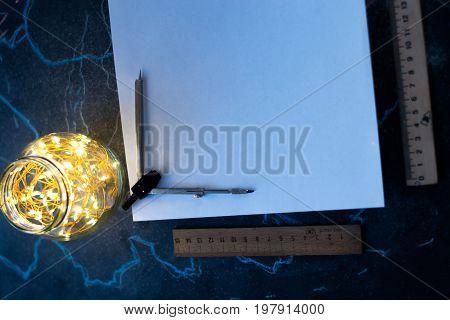 Midsection on white sheet of paper mocap on matt